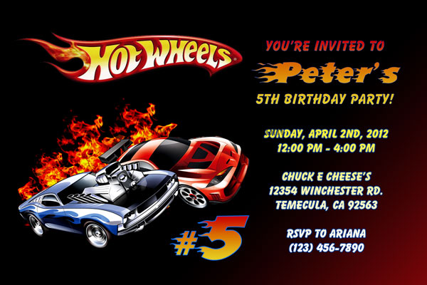 Hot Wheels Digital Party invitation birthday thank you card /& Racing