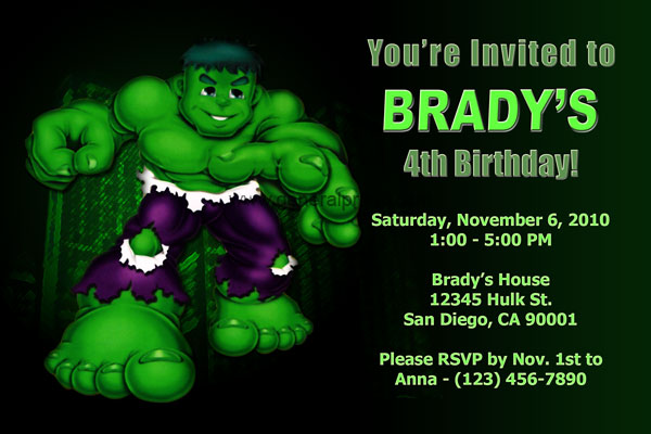 The Incredible Hulk Invitation