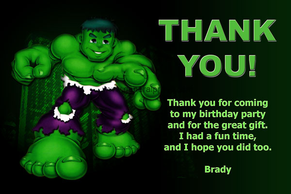 The Incredible Hulk Thank You Card