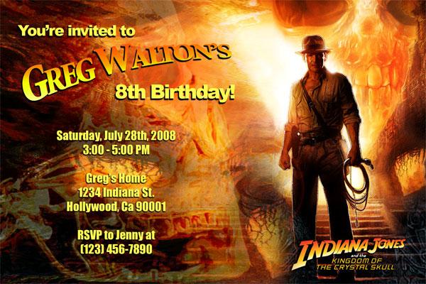 indiana jones invitations