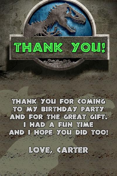 Jurassic World Thank You Card