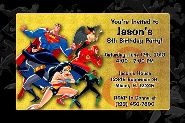 Justice League Invitations