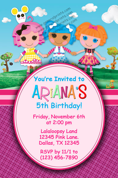 Lalaloopsy Invitations dolls General Prints – Lalaloopsy Birthday Invitation
