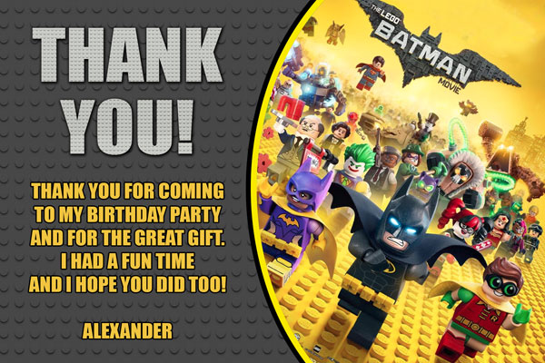 Lego Batman Movie Thank You Card