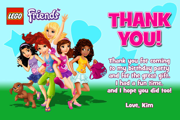 Lego Friends Thank You Card