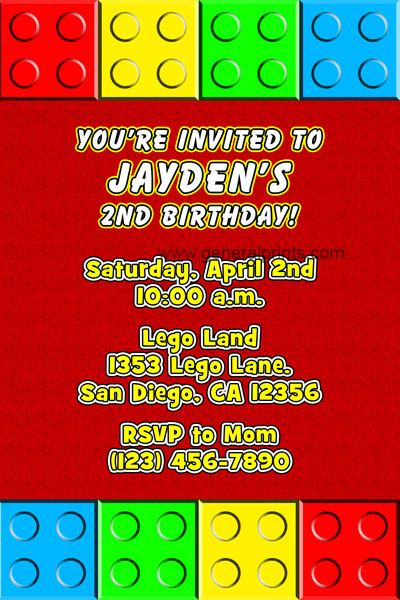 Lego Birthday Party Invitation Wording Invitation Format Template – Lego Birthday Party Invitations