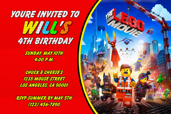 Lego Movie Invitations General Prints