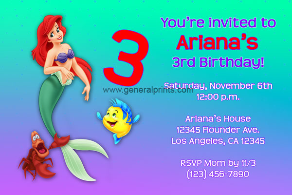 Little Mermaid Invitation 2