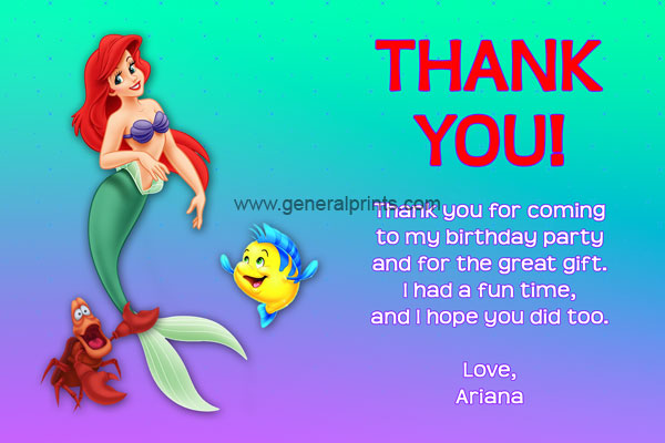 Little Mermaid Thank You Card #2