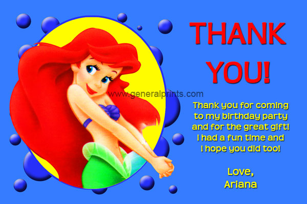 Little Mermaid Thank You Card #1