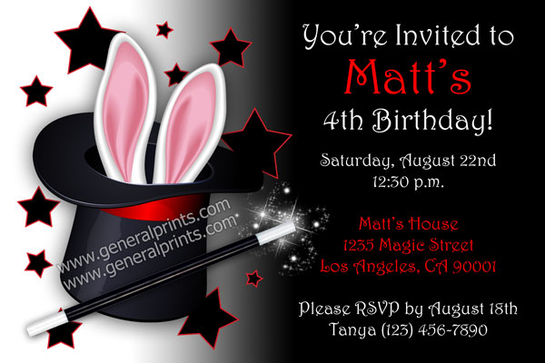 Magic Party Invitations by General Prints – Magic Party Invitations