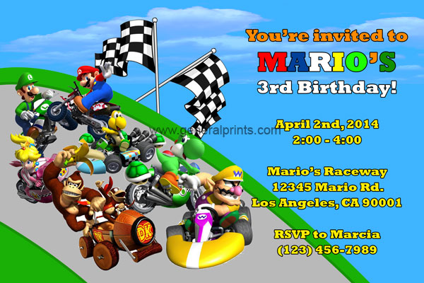 Super Mario Invitations – Mario Party Invites