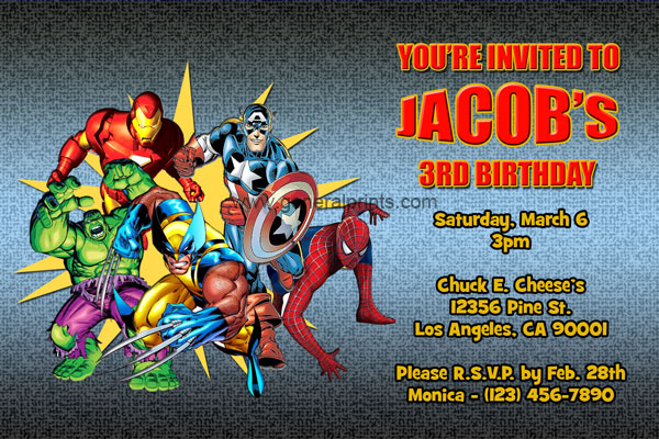 marvel superhero invitations general prints