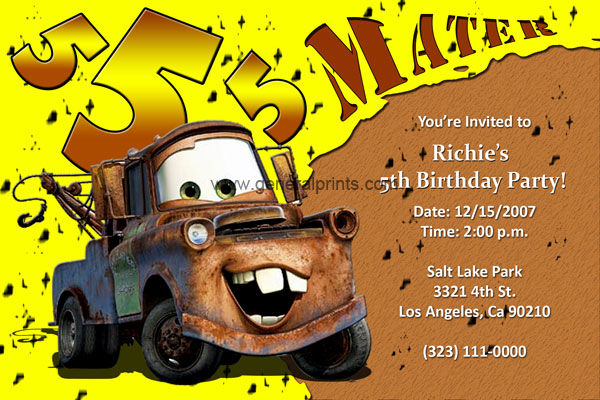 home kids birthday disney cars invitations invitation