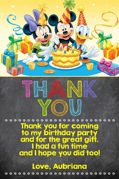 Mickey Minnie And Donald Thank You Card