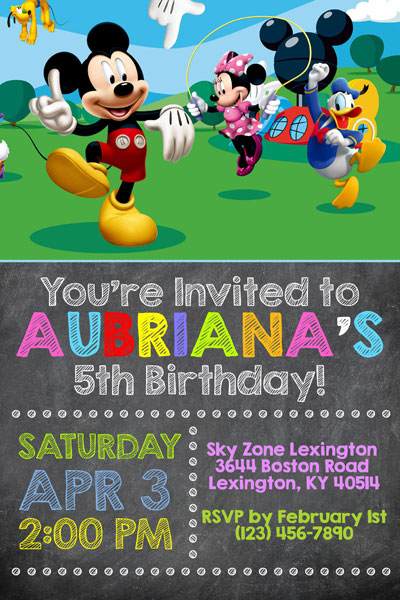 Mickey Mouse Clubhouse Chalkboard Invitation
