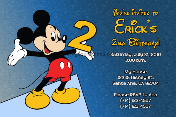 Mickey Mouse Birthday Party Invitations