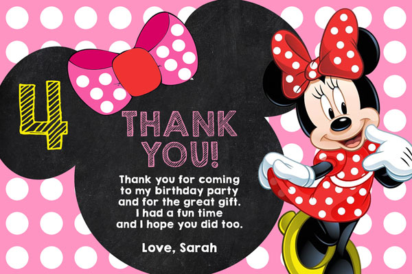 Minnie Mouse Chalkboard Thank You Card