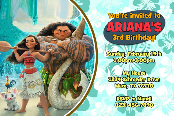 Princess Moana Invitations General Prints