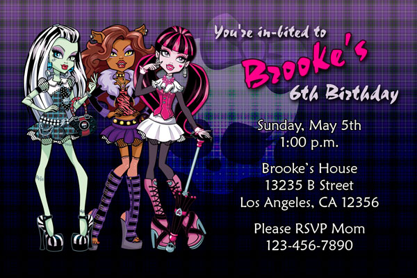 Monster High Invitations – Monster High Birthday Invitations Free