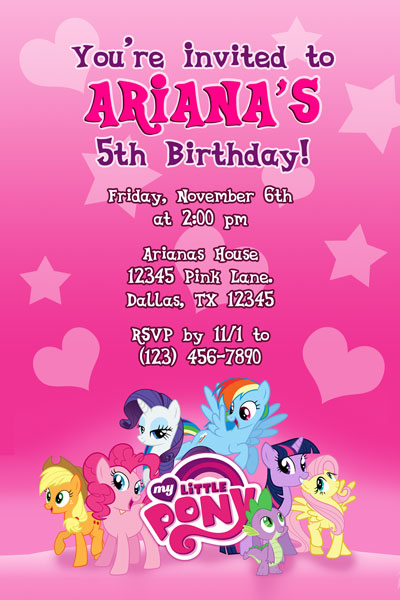 my little pony invitations it s a pony party if you love ponies these