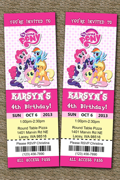 My Little Pony Invitations Friendship Is Magic