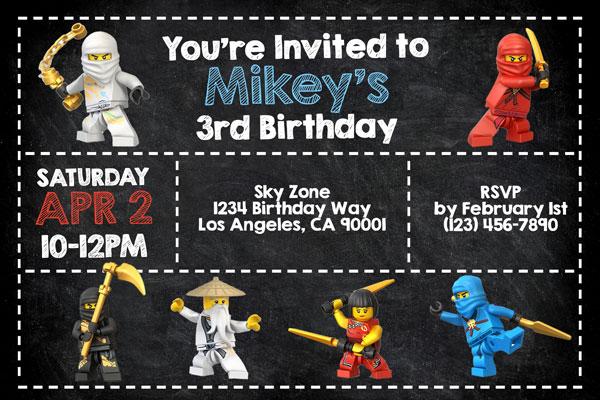 Lego Ninjago Invitations General Prints