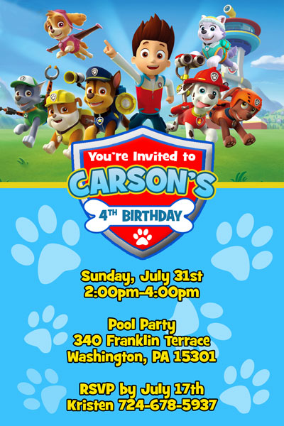 Paw Patrol Invitations from General Prints