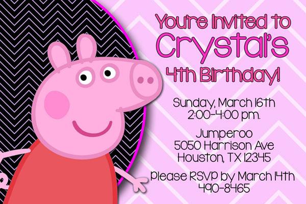 Peppa Pig Invitations George Pig