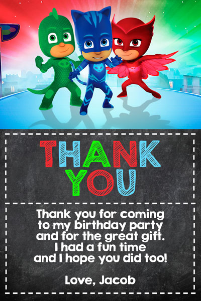 PJ Masks Chalkboard Thank You Card