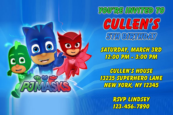 PJ Masks Invitations Catboy Owlette Gekko General Prints - Pj masks invitation template free