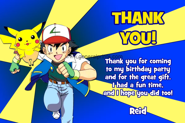 Pokemon Thank You Card