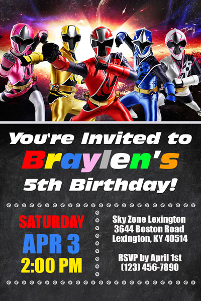 Power Rangers Invitations - General Prints