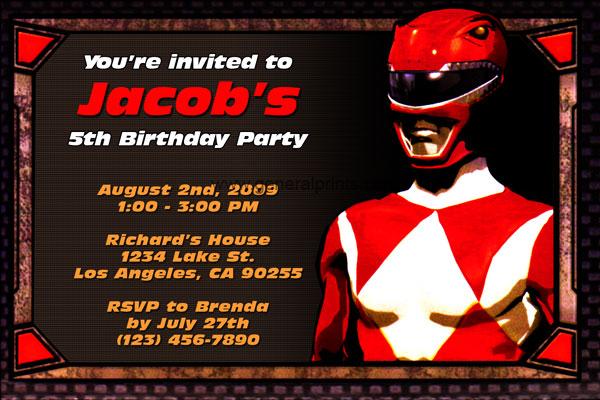 Power Rangers Invitations General Prints – Power Rangers Birthday Invitations