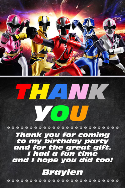 power rangers invitations