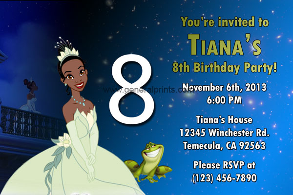 Princess Frog Invitations | Princess Tiana | General Prints