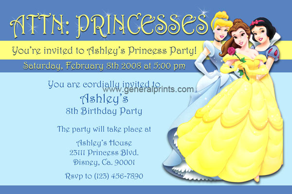 Disney Princess Birthday Invitations with Snow White and Belle – Disney Princess Printable Birthday Cards