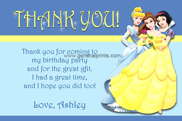 Disney Princesses Thank You Card