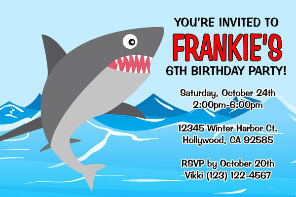 shark invitations
