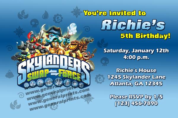Skylanders Invitations - Giants and Swap Force