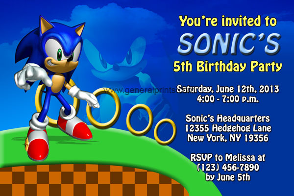 Sonic the Hedgehog Invitations - Birthday Party Invites ...