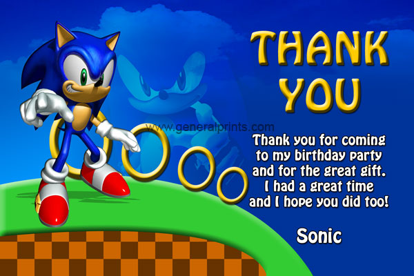 Sonic the Hedgehog Thank You Card