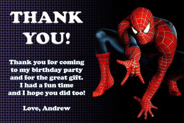 Spiderman Thank You Card #1