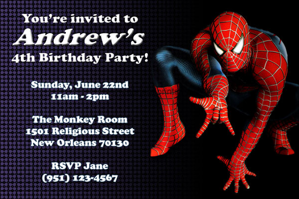 Spiderman Invitations General Prints - Spiderman birthday invitation maker free