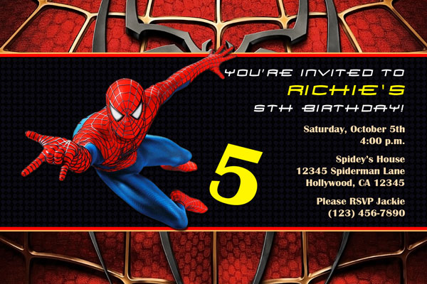 spiderman invitations - general prints, Birthday invitations