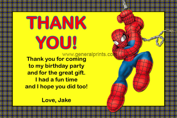 Baby Spiderman Thank You Card