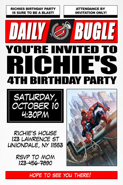 Spiderman Invitations Daily Bugle