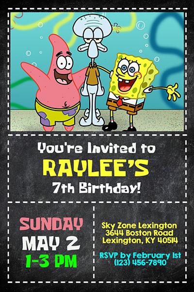 Spongebob Squarepants Invitations General Prints