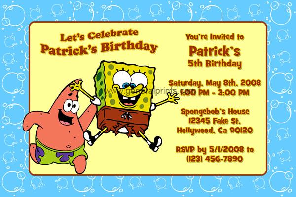 Spongebob squarepants invitations