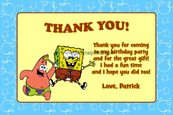 Spongebob Squarepants Thank You Card